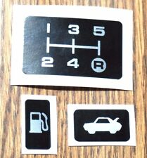 * TOYOTA MR2 MK1 GEAR SHIFT PLATE STICKER, BOOT LEVER &1 FUEL FLAP STICKERS AW11