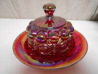 Mosser Red Carnival Glass Eyewinker Pattern Round Covered Butterdish - Very Nice