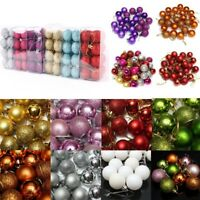 24Pcs Christmas Glitter Baubles Xmas Tree Hanging Ornaments Ball Christmas Decor