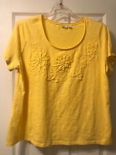 Cato Woman 22/24 Yellow Short Sleeve T-Shirt, Sunflowers, Pearls & Beads