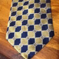 Preswick & Moore Tie 100% Imported Silk Yellow & Blue Geometric 4 x 59