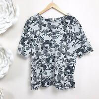 TALBOTS Gray Floral Peplum Top Womens Size Large Short Sleeve Exposed Zip Back