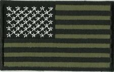 ECUSSON  PATCH THERMOCOLLANT DRAPEAU ETATS UNIS USA NOIR VERT KAKI DIM 7 X 5 CM