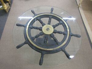 Antique John Hastie & Co. Greenock Ship Wheel Coffee Table with Glass