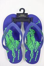 Nwt Ralph Lauren Size 5 Boy's Blue Green Polo Pony Logo T-Strap Rubber Flip Flop