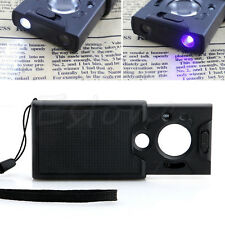 New 30x 45x 60x 3-LED UV Lighted Magnifier Jewelers Loupe Loop Magnifying Glass
