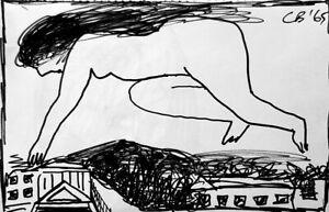 Charles BLACKMAN 'London Nude' 1965 original collectable drawing + COA