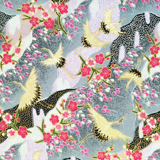 Japanese cranes fabric, metallic grey, birds, gold pink floral oriental cotton