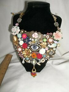 Vintage Victorian Flower Antique Eye Wedding Rhinestone Brooch Collage Statement