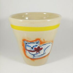 HANDMADE Signed Mexico Ring Handle Fluffy White Cat Coffee Mug Cup 12oz
