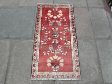 Vintage Traditional Hand Made Oriental Pink Wool Short Narrow Runner 115x60cm