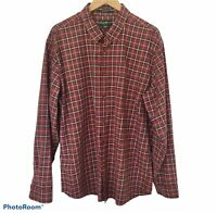 Eddie Bauer Shirt Mens Sz XL Relaxed Fit Red Plaid Long Sleeve Button Down