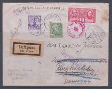 Sweden 1942. WW2. Air mail cover to Denmark. Danish censorship. Returned