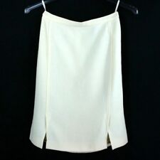 Chanel Boutique Womens Creme Beige Knee Length Pencil Straight Skirt Vintage VTG