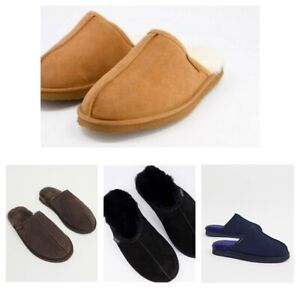 Redfoot Mens Gents Stylish Tan Brown Suede Slip On Sheepskin Mule Slippers New