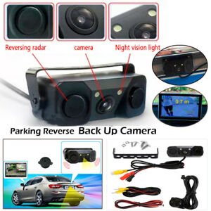 3In1 Car RV License Plate Frame Parking Sensor Radar Rearview Backup Camera 2LED