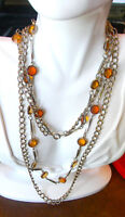 Vintage Gold Chain Amber Yellow Citrine Glass Wired Necklace.