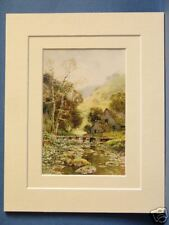 LATHKIL DALE PEAK DISTRICT VINTAGE DOUBLE MOUNTED HASLEHUST PRINT c1920 10X8
