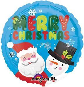 "17"" Merry Christmas Xmas Foil Balloon Santa And Snowman Head Party Decoration"