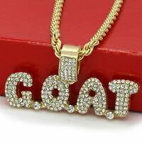 "Men 14k Gold Plated Hip-Hop G.O.A.T. Cz Bubble Pendant 30"" Rope Chain Necklace"