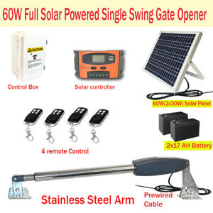 60W Full Solar Powered Single Swing Farm Gate Opener Automatic Motor Keypad