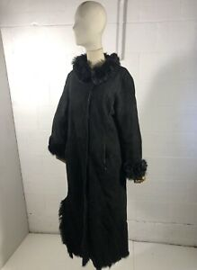 JOSEPH Shearling Coat Long Sheepskin Lambskin Fur Black Size M