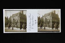 Hotel de Ville Saint Quentin France Plaque stéréo 45x107mm WW1 1918