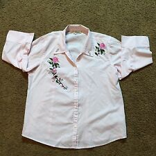 Distinct Women's Blouse Roses Cowgirl Rodeo Medium