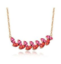 Pink Orange Crystal Necklace Rose Gold Jewellery Summer Gift Jewelery