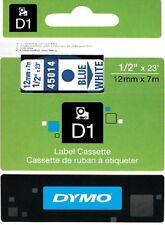 Dymo D1 Label12mm x 7m 45014 Tape Ruban Nastro Blue White Bleu Blanc Bianco Blu