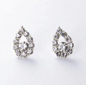 Beautiful Sparkly White Tear Rain Drop Silver Crystal Stud Earrings