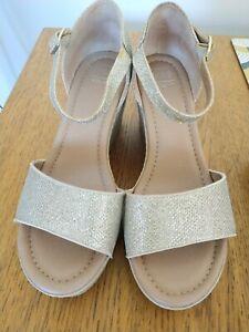 M & S Gold Sandals Size 4.5