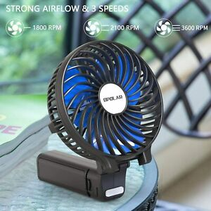 Small Handheld Battery Operated Personal Fan, Travel Fan with 2200mAh 3 Settings