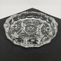 "5"" Vintage ANCHOR HOCKING Prescut Clear Star of David Pattern Ashtray"