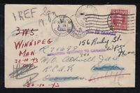 Canada 1943 WWII REDIRECTED Military Cover WINNIPEG to RCAF Overseas RETURNED