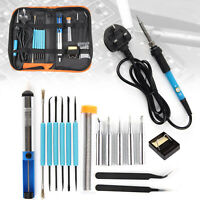 60W Soldering Iron Kit Electronics Welding Irons Tool Adjustable Temperature UK