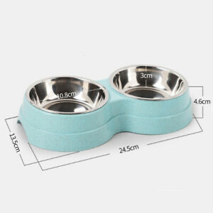 2In1 Pet Feeding Dog Cat Double Bowl Stainless Steel Water Food Bowl Feeder