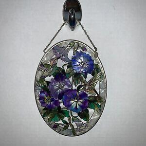 "Hummingbird Sun Catcher AMIA 7"" Oval Glass with Hanging Chain"