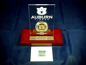 The Highland Mint Auburn Tigers 24k Plated Medallion, Etched Acrylic, Limited