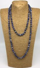 Free Shipping Fashion Long Knot Beads Blue sodalite Beads Necklace Handmade