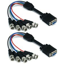2x 1FT VGA HD15 Female To 5 BNC Male Component RGBHV Adapter Converter Cable