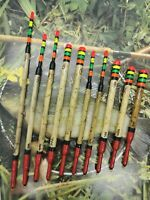 X10 Assorted Handmade Scorched Reed Waggler Floats Vintage Traditional Carp...