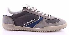 Men's Sneakers Shoes DOLCE & GABBANA Suede Canvas Dark Gray