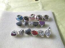 16 Metal Slide Bracelet Charms or Pendants, Murano Glass, Crystals, Enamel