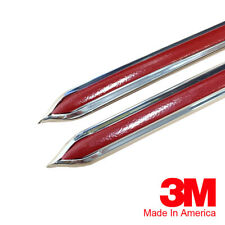"Vintage Style 5/8"" Red & Chrome Side Body Trim Molding - Formed Pointed Ends"
