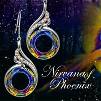Colorful Crystals Nirvana of Phoenix Silver Drop Earrings Women Gorgeous Gift