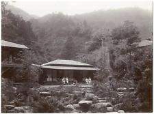 Japon, Japan, temple, vue animée, lieu à identifier  Vintage albumen print