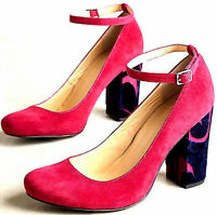 NEW NIB $188 ANTHROPOLOGIE HOT PINK SUEDE BLUE VELVET TESSA ANKLE STRAP HEELS 6