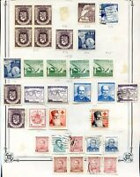 CHILE 32 STAMPS LOT ON ALBUM SHEET, VF