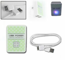 20 4 USB PORT HUB WALL ADAPTER+6FT MICRO 3.0 SUPERSPEED POWER CABLES CORD WHITE